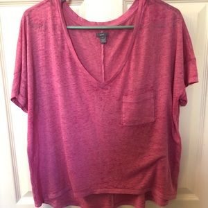 Aerie Cropped Pink T-shirt with Pocket